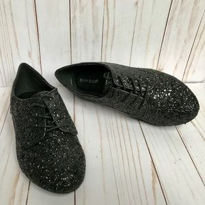 Bamboo Black Glitter Lynda Oxford Shoes Size 10